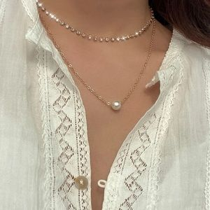 Gold Layered Faux Pearl Pendant Necklace
